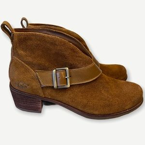 UGG Wright Belted Suede Booties